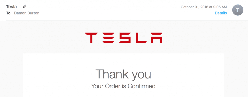 Tesla thank you